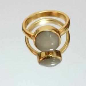 טבעת ראש צבע עגול פנינה