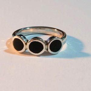טבעת כסף 3 עיגולים פס